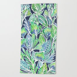 Masked Flora Collection Leaves Beach Towel