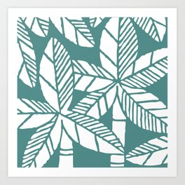 Tropical Palm Tree Composition Teal Green Art Print