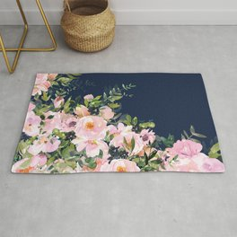 Boho, Floral Watercolor, Roses, Navy Blue and Pink Rug