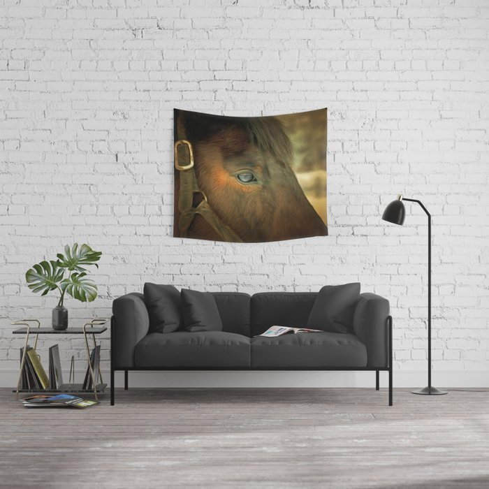 Horse Eye Close Up Golden Age Painting Style Wall Tapestry