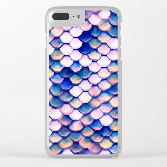 Rose Mermaid Skin Pattern Clear iPhone Case