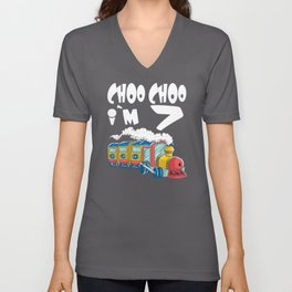 Choo Choo I'm 7 Children's Birthday Train Unisex V-Neck