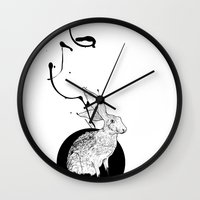 hare Wall Clocks featuring hare by Tom Kitchen