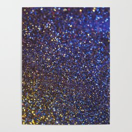Blue and Gold Sparkles Poster