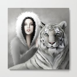 Tigre Blanc Metal Print