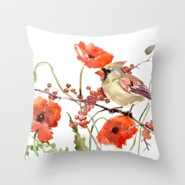 Cardinal Bird and Poppies, Poppy Flowers Throw Pillow