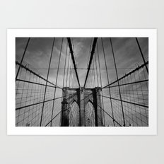 New York City, Brooklyn Bridge B/W Art Print