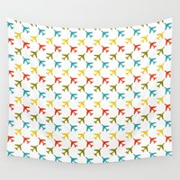 planes Wall Tapestries featuring Colored planes by Yasmina Baggili