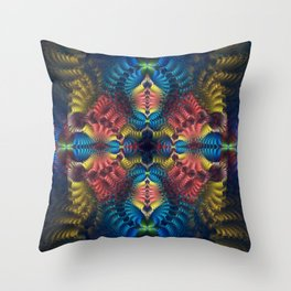 Mirrored abstract with tribal patterns and warm colors Throw Pillow