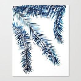 Palm tree, indigo watercolor Canvas Print