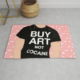 Buy Art, Not Cocaine - Dude with Blue Hair Typography Digital Drawing Rug