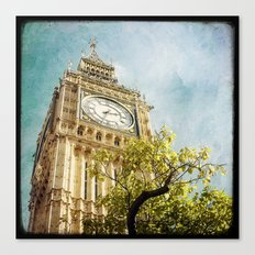 Clock Tower behind tree - London Canvas Print