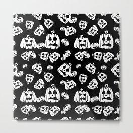 Halloween (pumpkin) seamless repeat pattern in white and black Metal Print
