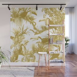 Toucans and Bromeliads - Spicy Mustard Wall Mural