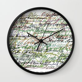 All The Presidents Signatures Green Sepia Wall Clock