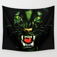 fierce Wall Tapestries featuring Fierce and Powerful Black Panther by BluedarkArt