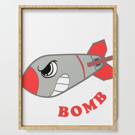 "A Bombing Tee For Bombers Saying ""Drop The Bomb"" T-shirt Design With Illustration Of A Mad Bomb Serving Tray"