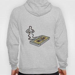 Compact Cassette Tape Man Dancing Mono Line Hoody