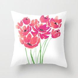 Blush Wildflowers Throw Pillow