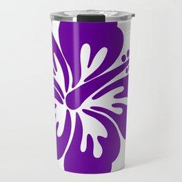 Bright Purple Hibiscus Tropical Flower Travel Mug