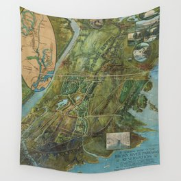 Vintage Map of the Bronx NY (1915) Wall Tapestry