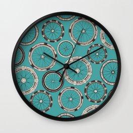 bike wheels turquoise Wall Clock
