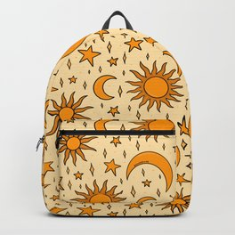 Vintage Sun and Star Print Backpack