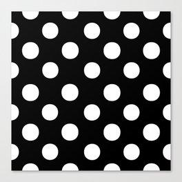 Polka Dots (White/Black) Canvas Print