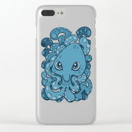 Happy Octopus Squid Kraken Cthulhu Sea Creature - Sailor Blue Clear iPhone Case