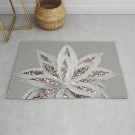 Gray Agave with Rose Gold Glitter #1 #shiny #tropical #decor #art #society6 Rug