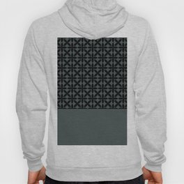Black Square Petal Pattern on PPG Night Watch Pewter Green Hoody