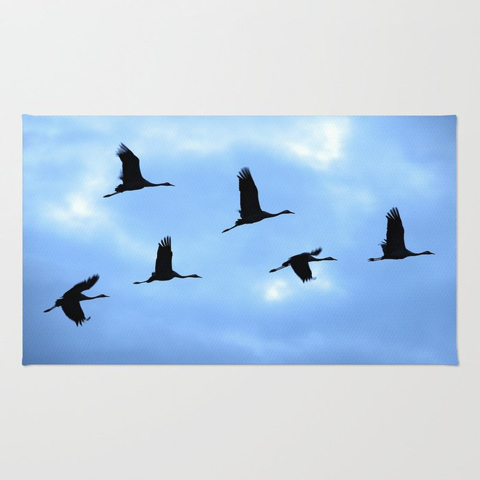 Welcome back! Cranes in flight #decor #society6 Rug