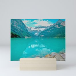 Digital Painting of a Sunny Summer's Day over Lake Louise in Banff National Park, Alberta Mini Art Print