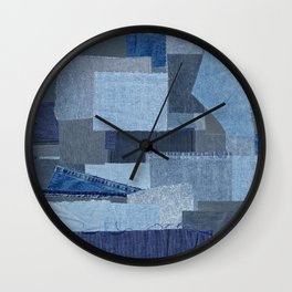 Boroboro Blue Jean Japanese Boro Inspired Patchwork Shibori Wall Clock