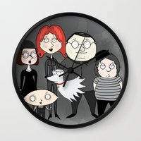 tim burton Wall Clocks featuring Tim Burton Family Guy by Grace Isabel