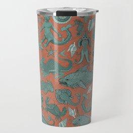 Deep Sea Cryptids on Red Travel Mug