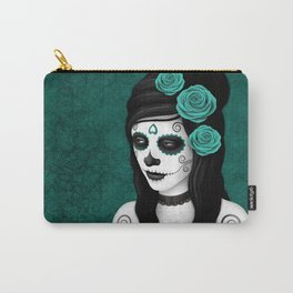 Day of the Dead Sugar Skull Girl with Teal Blue Roses Carry-All Pouch