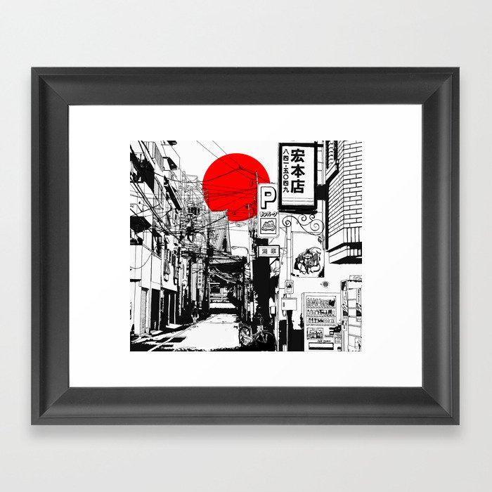 Tokyo street sunrise Gerahmter Kunstdruck