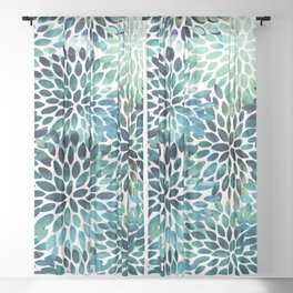 Floral Watercolor, Navy, Blue Teal, Abstract Watercolor Sheer Curtain