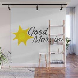 Good Morning Hand written text and Yellow sun Wall Mural