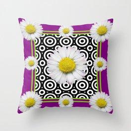 Modern Style Shasta Daisies Purple Throw Pillow