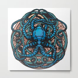 Mechanical Cephalopod Metal Print