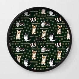 Merry Corgmess- Corgis Celebrate Christmas - green Wall Clock