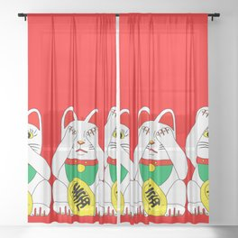 Three Wise Lucky Cats on Red Sheer Curtain