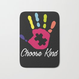 Choose Kind Colorfull Hand design Autism Awareness Bath Mat