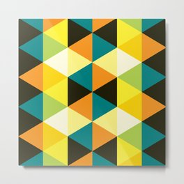 Geometric Pattern #60 (teal orange yellow triangles) Metal Print
