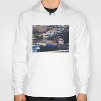 boats Hoodies featuring Fishing Boats by Mr and Mrs Quirynen