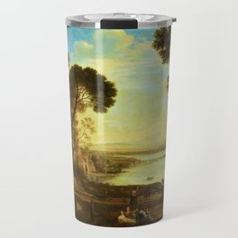 Landscape with Two Figures Dancing with Tambourines by Jakob Philipp Hackert Travel Mug