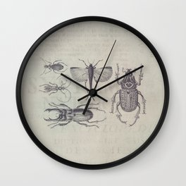 Vintage Beetles And Bugs Wall Clock