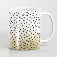 gold dots Mugs featuring Dots on White&Gold by Oh Monday